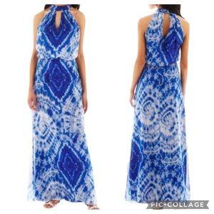 Bisou Bisou Blue Tie Dye Halter Maxi Dress Sz 10